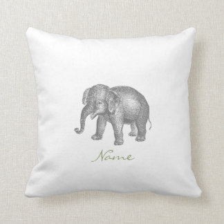 Vintage Happy Baby Elephant and Elephant Pattern Throw Pillow