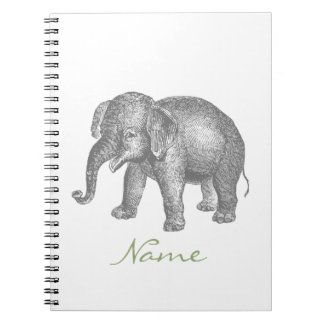 Vintage Happy Baby Elephant Spiral Notebook