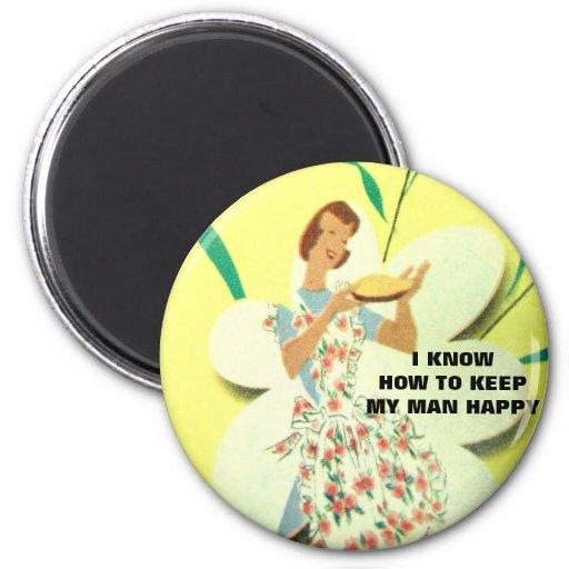 vintage happy baking graphic art magnet
