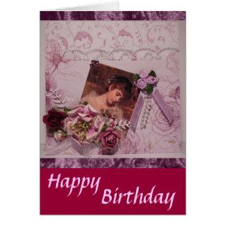 Vintage Happy Birthday-3 Greeting Card