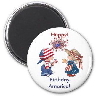 Vintage Happy Birthday America 2 Inch Round Magnet