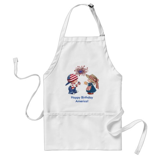 Vintage Happy Birthday America Adult Apron