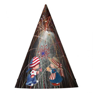 Vintage Happy Birthday America Fireworks Party Hat