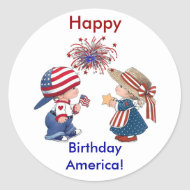 Vintage Happy Birthday America Stickers