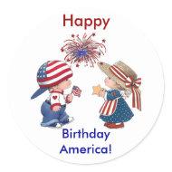 Vintage Happy Birthday America Stickers