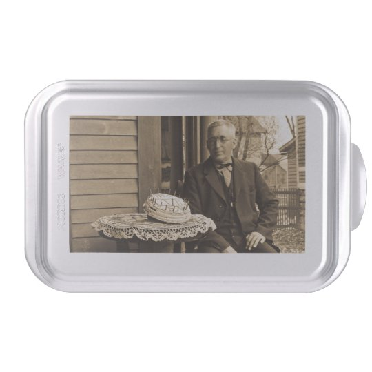 Vintage Happy Birthday Cake Old Man Over The Hill Pan