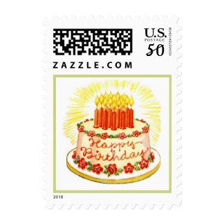 Vintage Happy Birthday cake postage stamp