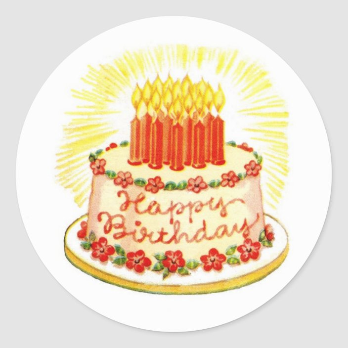 Tremendous Vintage Happy Birthday Cake Stickers Zazzle Com Personalised Birthday Cards Veneteletsinfo