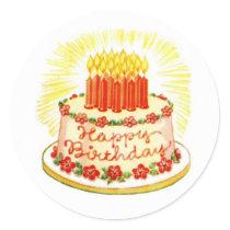 Vintage Happy Birthday Cake Stickers