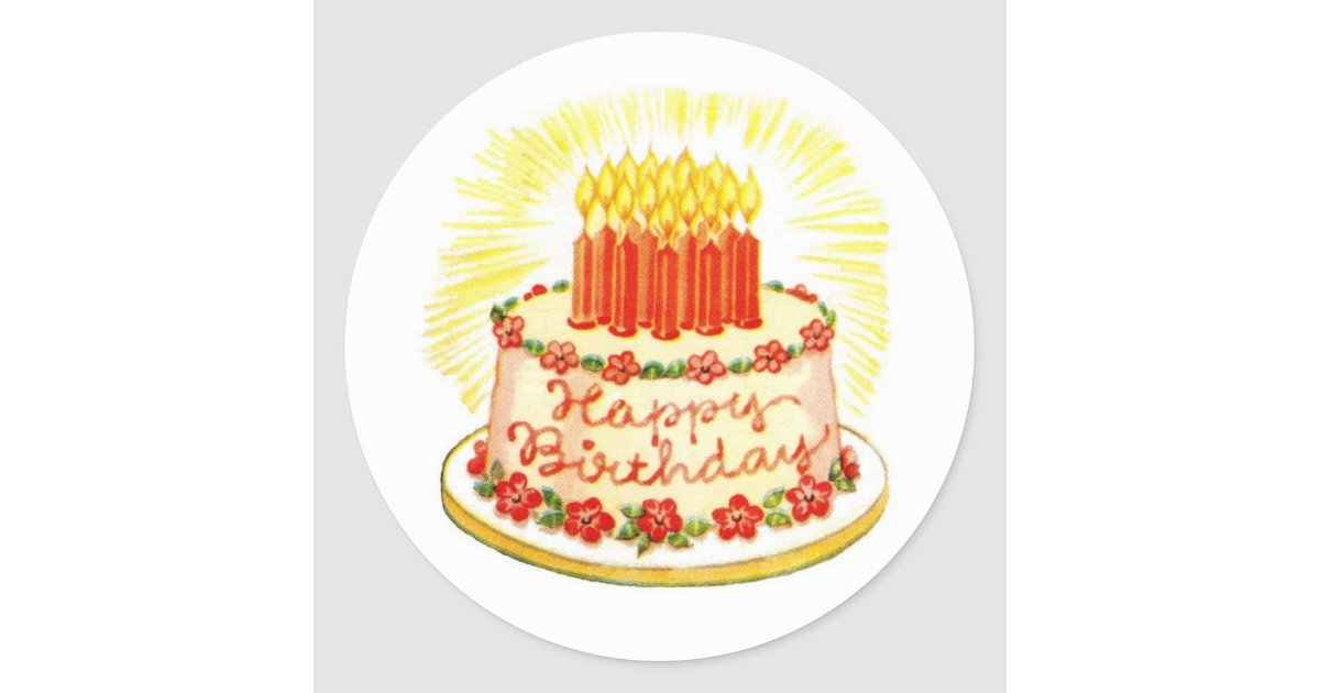 Vintage Happy Birthday Cake Stickers Zazzle
