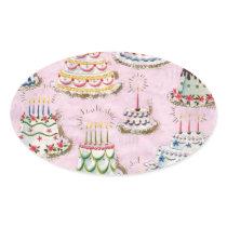 Vintage Happy Birthday Cakes Oval Sticker