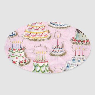 Vintage Happy Birthday Cakes Oval Sticker