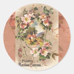 Vintage Happy Birthday Card Greeting Classic Round Sticker