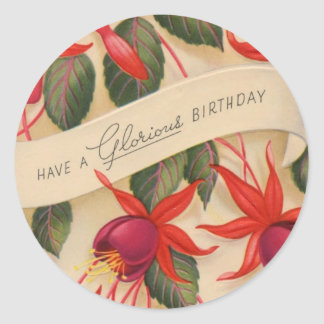 Vintage Happy Birthday Flowers Sticker