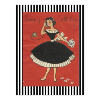 Vintage Happy Birthday Girl Postcard