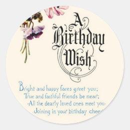 Vintage Happy Birthday Greetings Classic Round Sticker