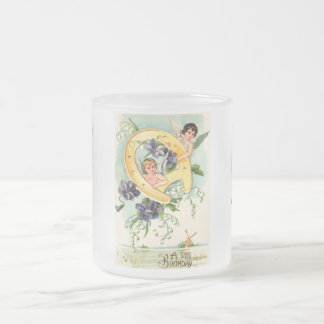 Vintage Happy Birthday Greetings Frosted Glass Coffee Mug