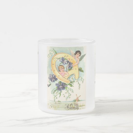 Vintage Happy Birthday Greetings 10 Oz Frosted Glass Coffee Mug