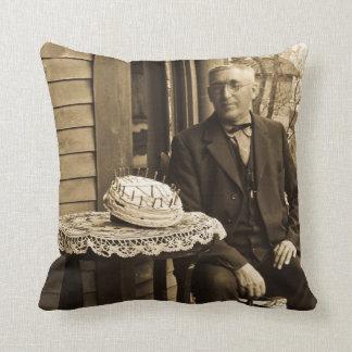 Vintage Happy Birthday Party Birthday Boy Throw Pillows