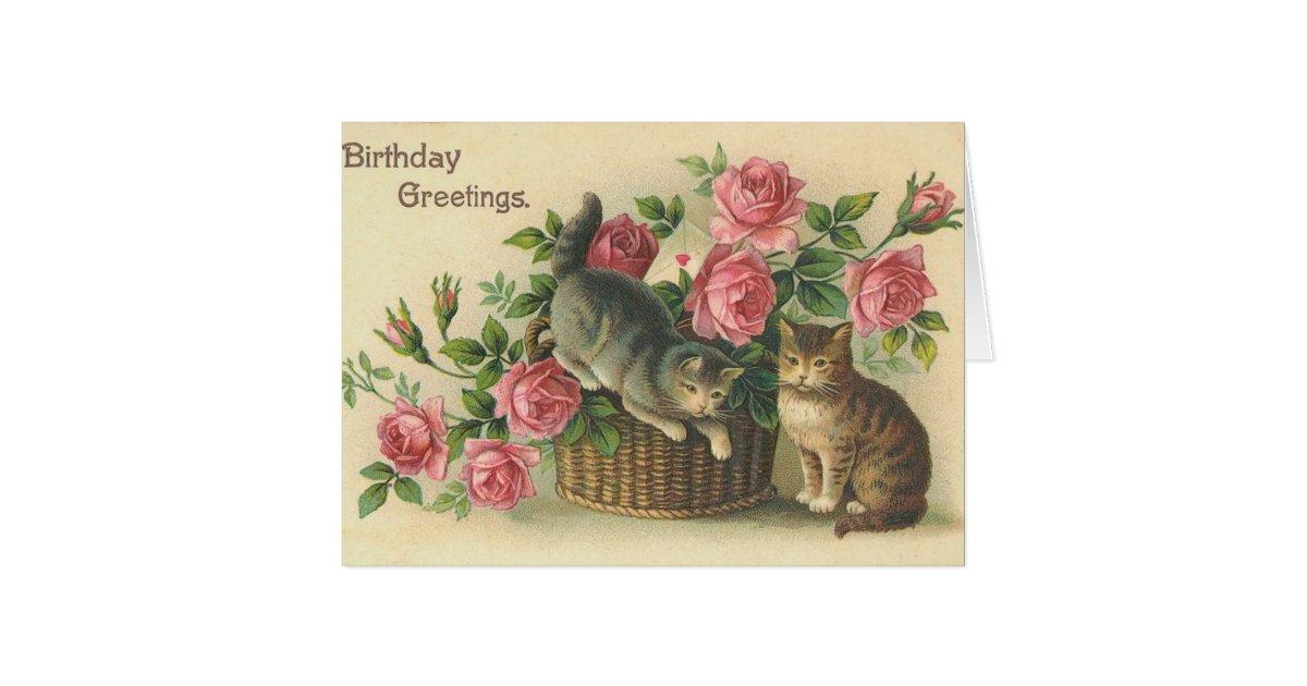 Vintage - Happy Birthday - Roses & Cats Card | Zazzle.com