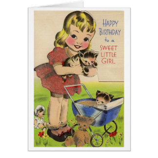 Vintage Happy Birthday to a Sweet Little Girl Card