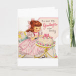 """Vintage - Happy Birthday to Sweet Granddaughter, Card<br><div class=""""desc"""">A vintage birthday card image for a Granddaughter features a little girl in her pretty pink and white striped party dress. She excitedly sits in front of a small table holding a decorated birthday cake with pink candles and roses. The front of the card says, """"To a Sweet Little Granddaughter...</div>"""
