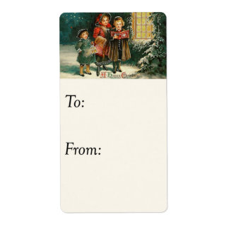 Vintage Happy Christmas Carolers Gift Tag Custom Shipping Label