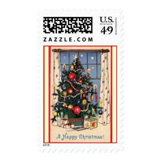 "Vintage ""Happy Christmas"" Christmas Tree Postage"