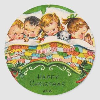 Vintage Happy Christmas Classic Round Sticker