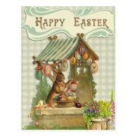 Vintage Happy Easter Bunny House Spring Postcard