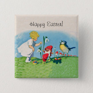 Vintage Happy Easter Elves Eggs Button