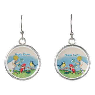 Vintage Happy Easter Girl Gnomes Bird Lily Flowers Earrings