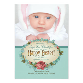 Vintage Happy Easter Photo Birth Announcement