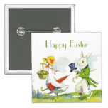 Vintage Happy Easter Pin-Dressed Rabbit,Duck