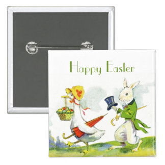 Vintage Happy Easter Pin-Dressed Rabbit,Duck Button