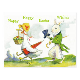 Vintage Happy Easter Postcard-Dressed Rabbit, Duck Postcard