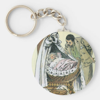 Vintage Happy Fathers Day, Victorian Baby Bassinet Basic Round Button Keychain