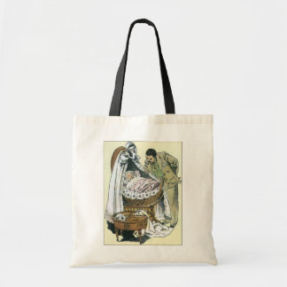 Vintage Happy Fathers Day, Victorian Baby Bassinet Tote Bag