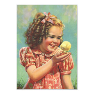 Vintage Happy Girl with Baby Chick Birthday Party Card