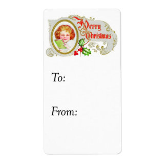 Vintage Happy Girl's Merry Christmas Gift Tag