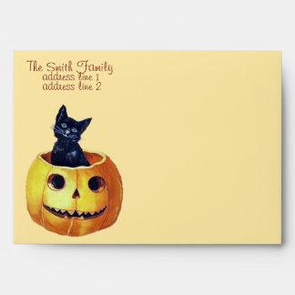 Vintage Happy Halloween Kitty Envelopes