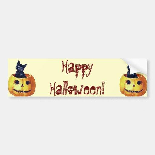 Vintage Happy Halloween Kitty in a Pumpkin Car Bumper Sticker