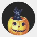 Vintage Happy Halloween Kitty in a Pumpkin Stickers
