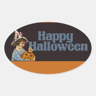 Vintage Happy Halloween Oval Sticker