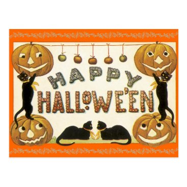 Halloween Themed Vintage Happy Halloween Postcard Jack-O-Lanterns