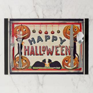 Vintage Happy Halloween Pumpkins Black Cats Paper Placemat