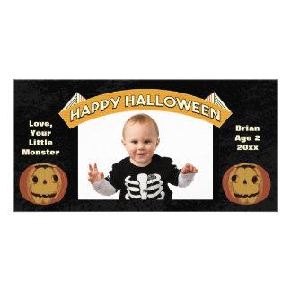 Vintage Happy Halloween Pumpkins Photo Card
