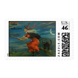 Vintage Happy Halloween Witch Postage Stamp
