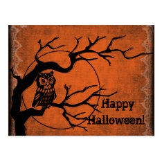 Vintage Happy Halloween With Owl Postcard at Zazzle
