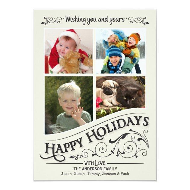 Vintage Happy Holidays 4-Photo Flat Card